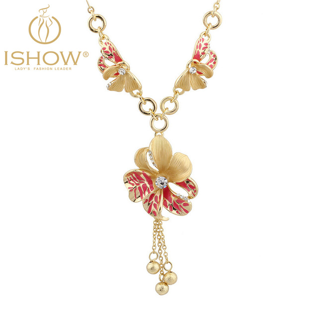 Fashion necklaces for women 2016 hot selling gold necklace bijoux chain necklace flower necklaces pendants for Valentine's Day(China (Mainland))