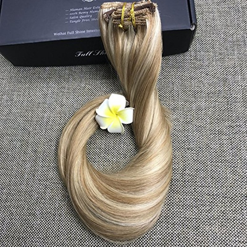 Full Shine Balayage Color 10 Ombre Color 613 Blonde 100% Real Human Hair Extensions with Clips Brazilian Remy Clip in Extensions
