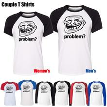 PROBLEM Troll face Slogan Internet Meme Funny Design Printeds T-Shirt Men's Boy's Graphic Tops Blue or Black Sleeve