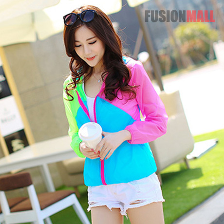 2015 new summer bright tricolor sports womens windbreaker an acidic Youth, lightweight breathable sun jacket FUSIONMALL(China (Mainland))