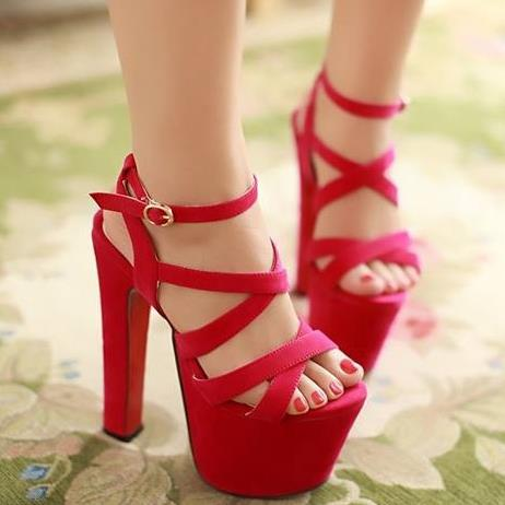 17.5cm ultra high heels Gladiator women sandals thick platform red bottom party wedding shoes woman<br><br>Aliexpress