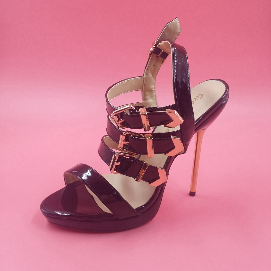 Фотография Black Straps Buckle Simple Women Sandal Real Image Plus Size 14 Ladies Shoes High Heels Handmade Open Toe Ladies Shoes 2016