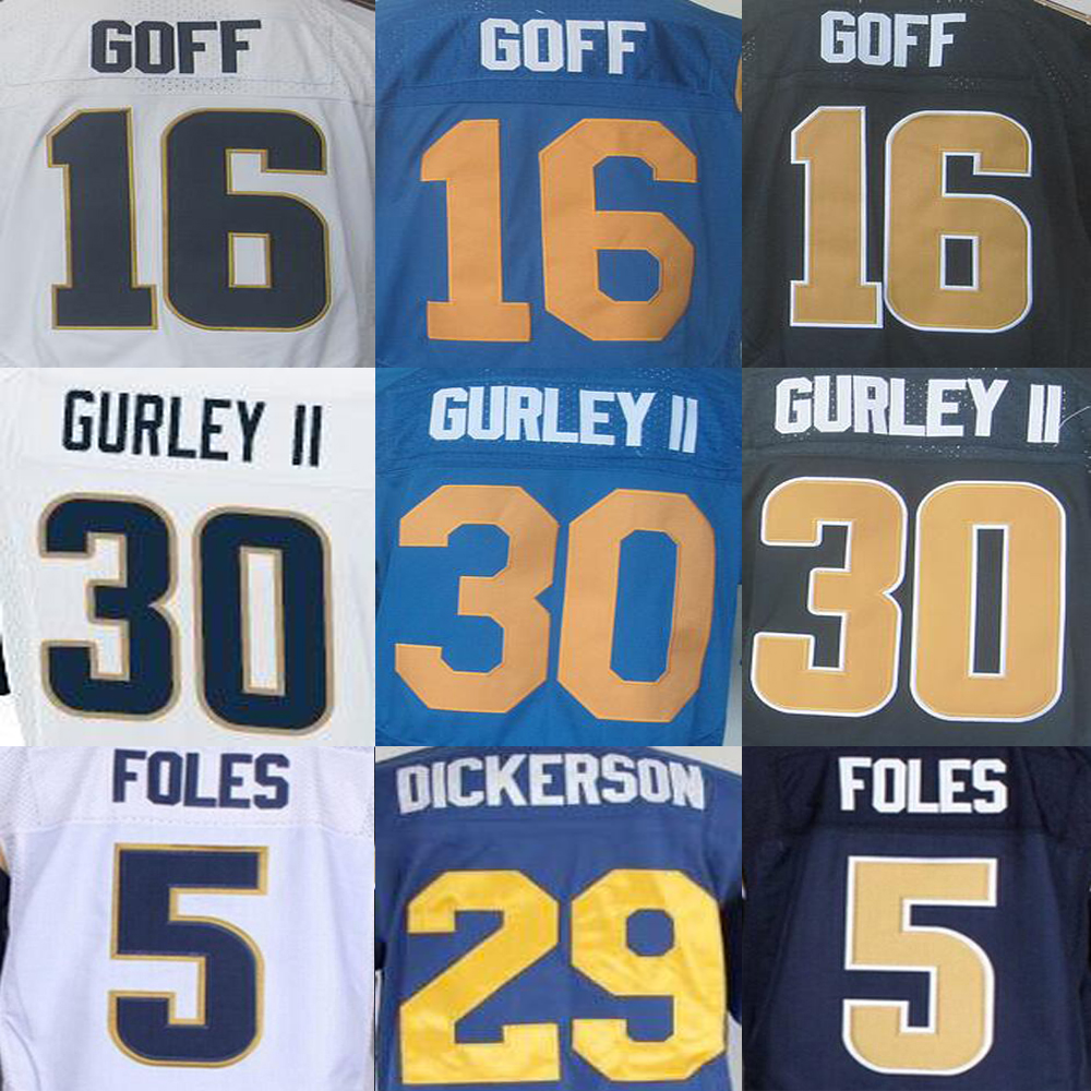 Jared Goff Nick Foles Jersey, ERIC DICKERSON Todd Gurley Chris Long James Laurinaitis Robert Quinn Jerseys(China (Mainland))