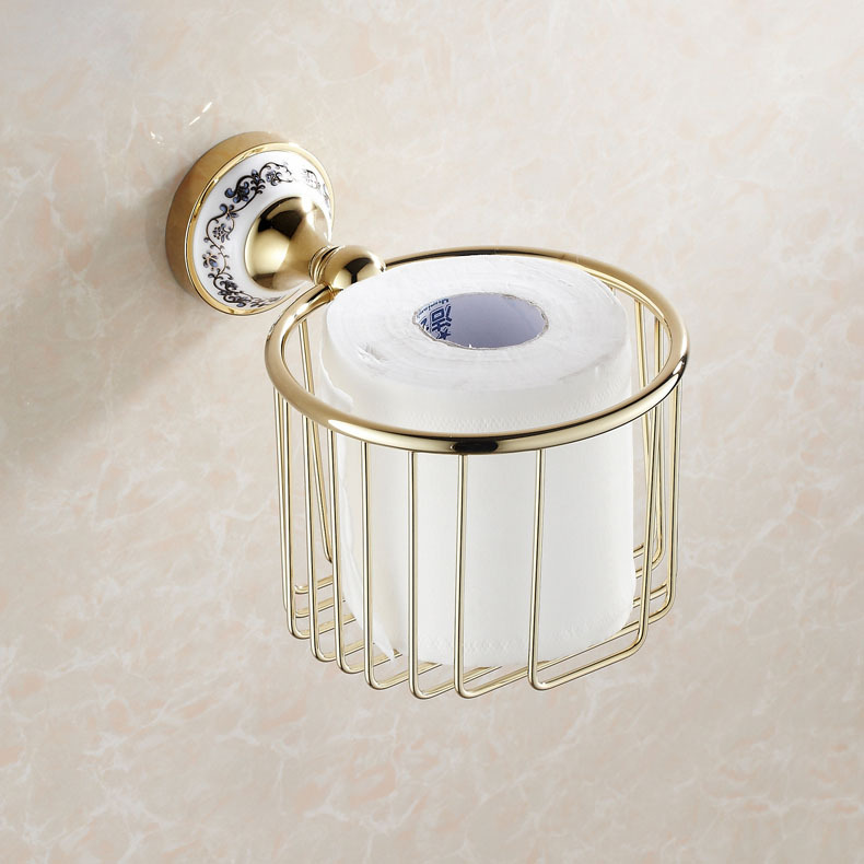 Gold finish toilet paper holder wall mounted tissue basket in paper holders from home - Gold toilet paper holder stand ...