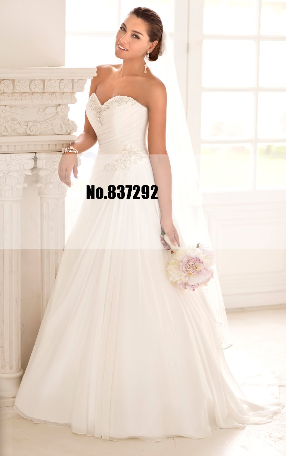New arrival sweetheart backless simple chiffon white for Plus size simple wedding dress