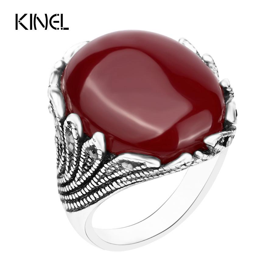 Hot Boutiqu Big Ruby Jewelry Fashion Vintage Wedding Womens Rings Mosaic Gray Crystal Plating Silver Turquoise Ring(China (Mainland))