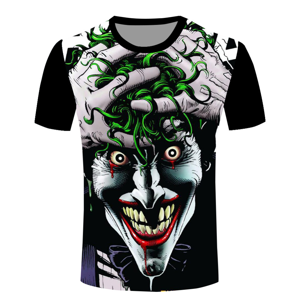 New Men 3D T-shirts Fashion Super Star Dark Knight Joker Face Movie T Shirts Funny Cartoon O Neck Tee Shirts(China (Mainland))