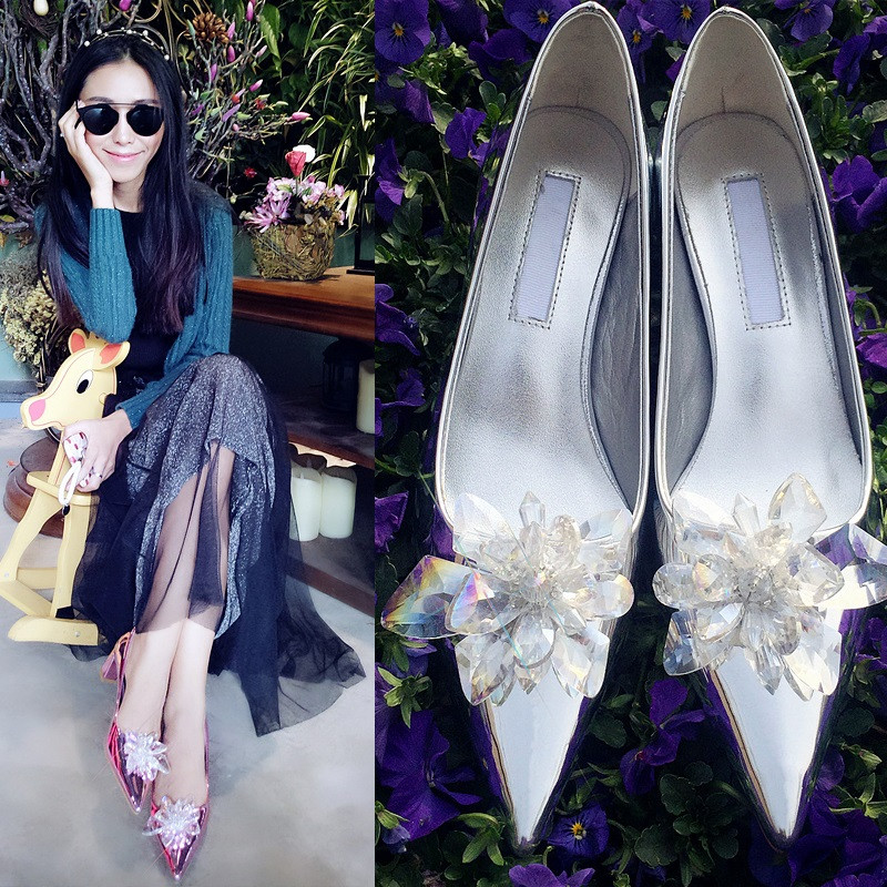 Patent Leather 2016 Latest Fashion Pointed Toe Thick with Shallow mouth Rhinestone Rose Gold Hot New Products Chic pumps shoes