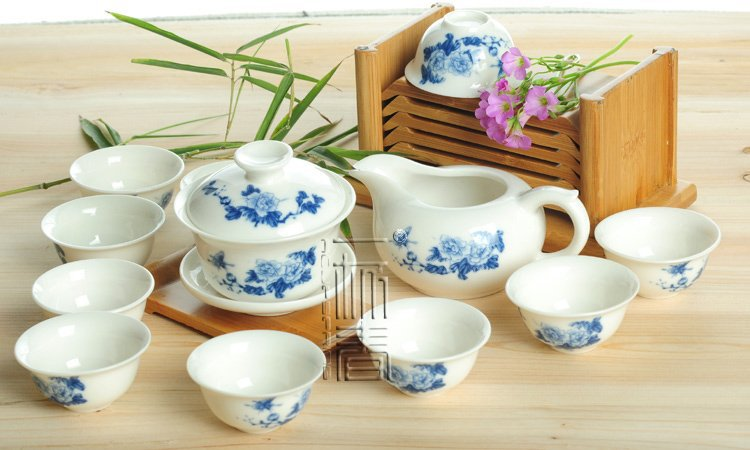 10pcs smart China Tea Set Pottery Teaset Peony Butterfly A2TM27 Free Shipping