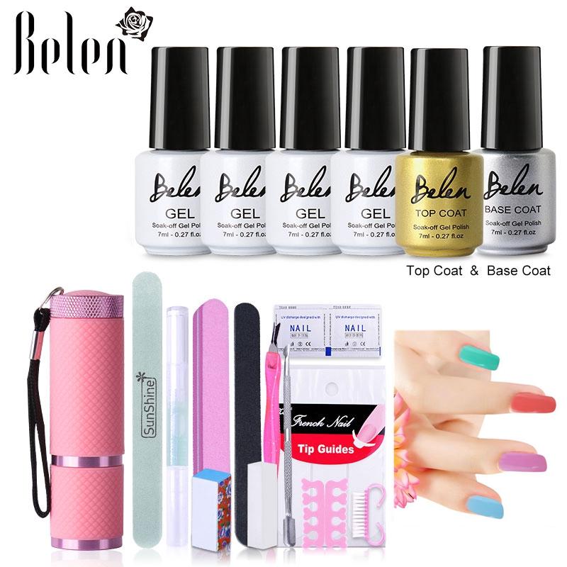 Belen 4pcs Nail Color UV Gel Nail Art Tools Sets Kits Gel Nails Tools 9W LED UV Lamp Nail Dryer Top Coating Base Lacquers(China (Mainland))