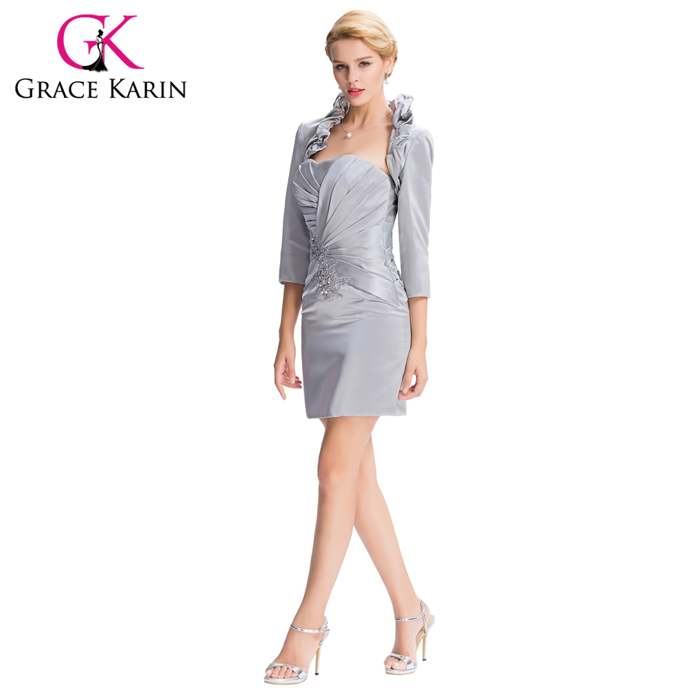 2016 New Arrival Grace Karin Sheath Elegant Grey Evening Dresses with Jacket Satin Mother of the