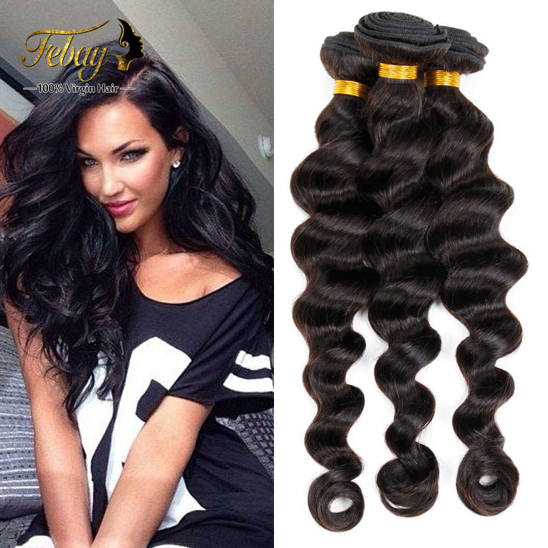 Hot Sale Virgin Hair Loose Deep 4 PCS In Febay Shop 8A Malaysia Natural Human Hair Sexy Loose Wave Weft  8-30Inch Available<br><br>Aliexpress