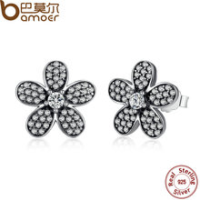 BAMOER Original 925 Sterling Silver Dazzling Daisy Flower Stud Earrings for Women Jewelry PAS434(China (Mainland))