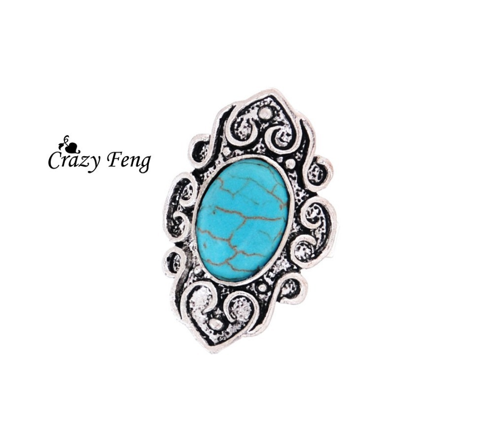 Vintage Oval Tibet Alloy Antique Silver Plated Flower Turquoise Bead Adjustable Rings Fashion Jewelry Accessories