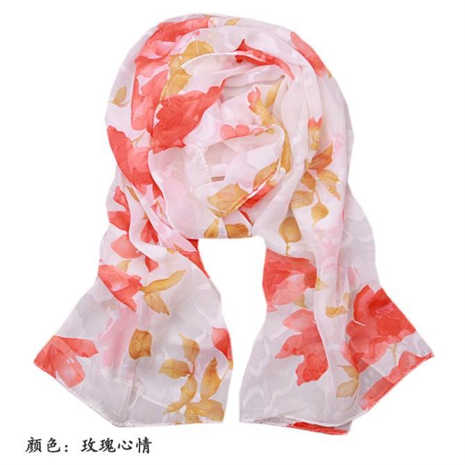 New Fashion Designer Women's Voile Chiffon Scarf Print Flower Shawl Chinese Vintage Faux Muffler Size160 x 48cm PM029-B(China (Mainland))