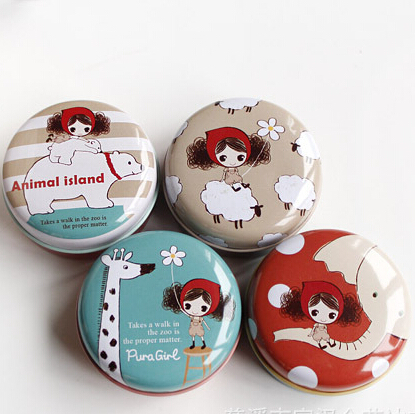 Vintage Pura Girl Round Mini Tin storage box / Gifts case / Multifunction metal storage bag JJ0006(China (Mainland))