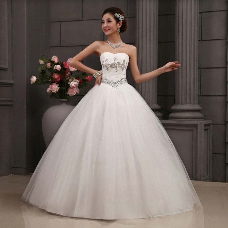 Hot free shipping white princess wedding dress 2015 plus for White wedding dress cheap