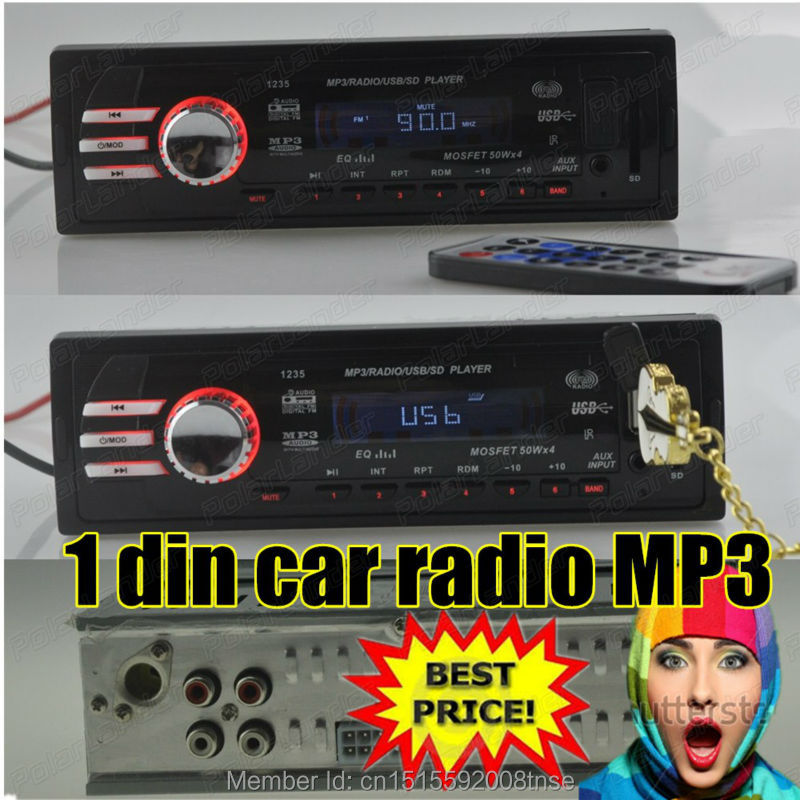 NEW 12V car audio auto Stereo FM Receiver MP3 Car Radio player 5V Charger USB/SD card/AUX in Car radios In-Dash 1 DIN size(China (Mainland))