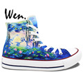 Hand Painted Unique Canvas Sneakers Water Lilies Lotus Men Women Presents Birthday Girls Boys Hand Painted