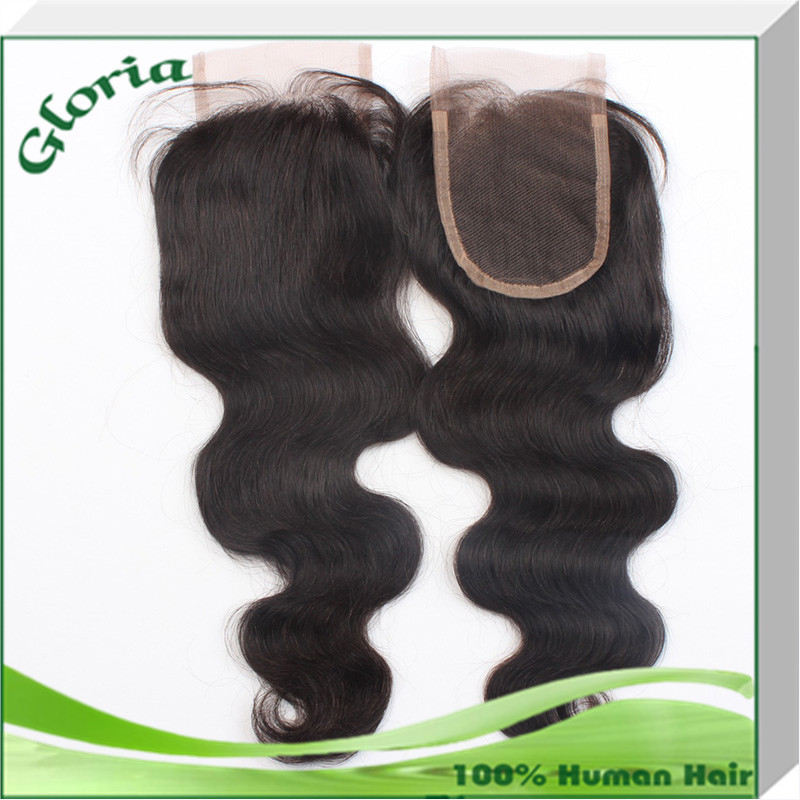 Brazilian virgin hair body wave lace closure bleached knots 4x4 free parting middle or side parting closure Factory Direct sale(China (Mainland))