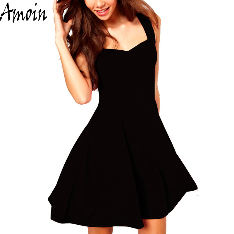 Amoin Brand Women Sexy Little Black Dress 2017 Summer Vestido Fashion Casual Classic Brief A Line Skater Knee Length Dress(China (Mainland))
