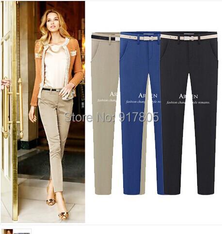 Women Pencil Pants Capris Summer Autumn OL Business Slim Belt Middle Waist Straight Elastic Cotton Casual Trousers XXL - Sherry Fu's store