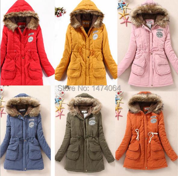 2014 Women Ovo Collar Hooded Drawstring Waist Slim Army Chapter Padded Coat Cotton Warm Jacket Plus
