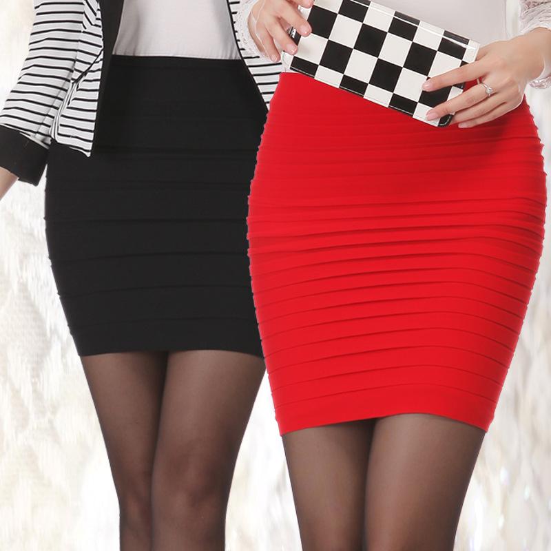 2015 Fashion Women Summer Pleated Skirt Candy Color Ladies High Waist Short Skirts Plus Size Elastic A-line Mini Bodycon Saias(China (Mainland))