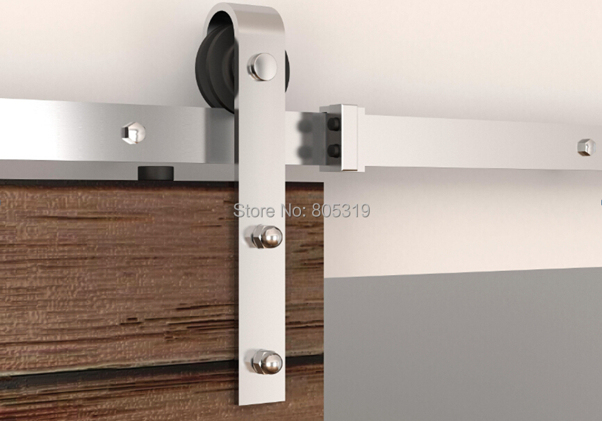 Flat track stainless steel barn door sliding hardware 6ft for Hardware for sliding barn doors flat track