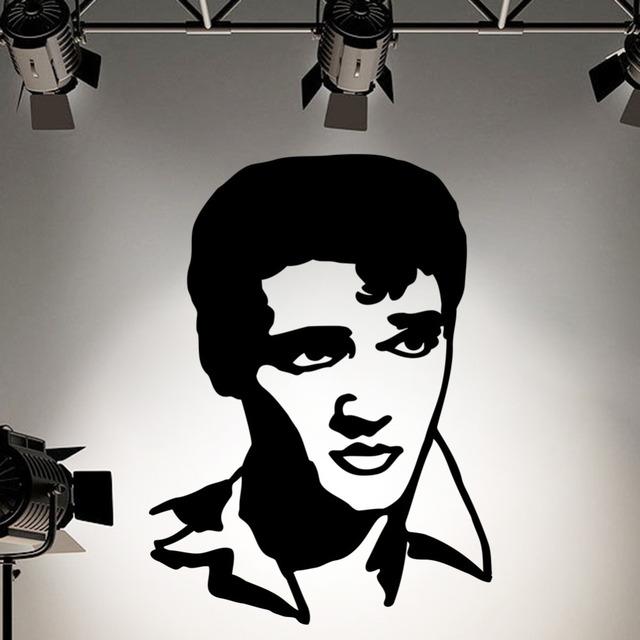 Элвис пресли силуэт винил стена искусство наклейка наклейка домашнее украшение стена росписи съёмный комната наклейка VAElvis8N