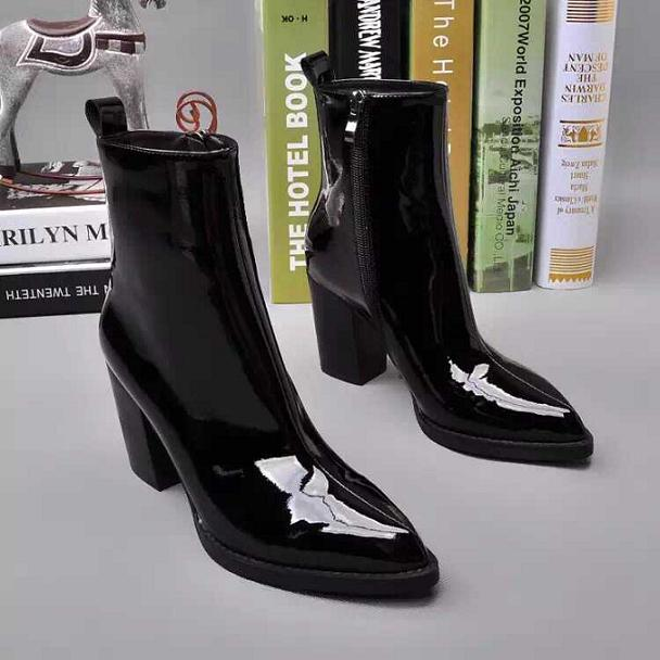 2016 Sexy Winter Shoes Black Patent Genuine Leather Pointy Toe Women Chunky High Heels Black Ankle Boot Ladies Short Boots