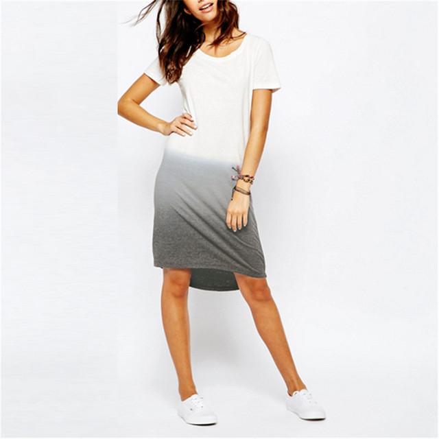 Летний Стиль 2016 Повседневная футболка Платье Новый Стильный Коротким Рукавом О-Образным Вырезом Свободные Асимметричный Подол Платья Плюс Размер vestidos