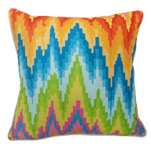 Ikat Style Zigzag Digital Printed Chenille Pillow Case