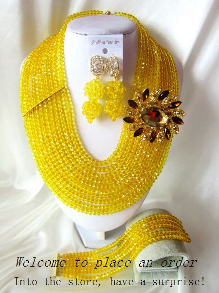 2015 Fashion african yellow crystal beads necklace set nigerian wedding african beads jewelry set Free shipping P-4376<br><br>Aliexpress