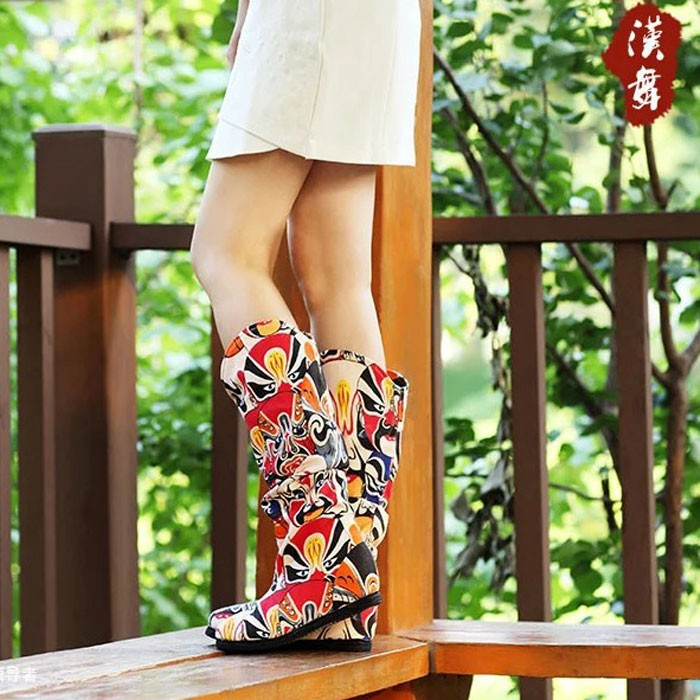 2014 Autumn New Fashion Chinese Style Women's Embroidered Boots High