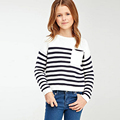autumn winter Children stripe long sleeve sweater Black white stripes Pocket Kids Girls Clothing Sweaters knitted