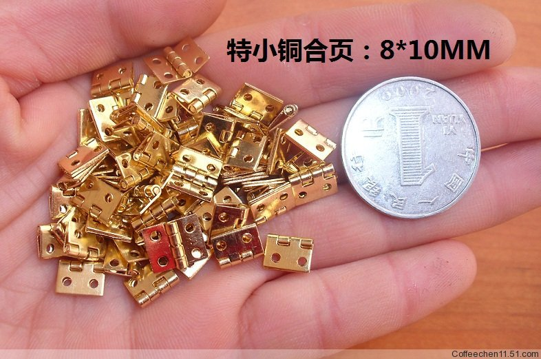 8*10MM 100pcs vintage copper furniture hinges wine jewelry gift small box antique hinge cabinet hinge herrajes para muebles(China (Mainland))