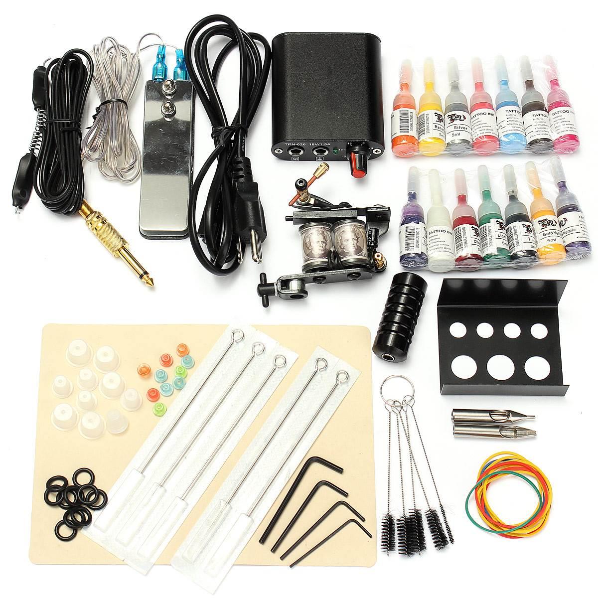 Гаджет  Professional 1 Set 90-264V Complete Equipment Tattoo Machine Gun 14 Color Inks Power Supply Cord Kit Body Beauty DIY Tools None Красота и здоровье