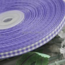 2/8″ 6mm Purple tartan plaid ribbon bows appliques craft/sewing/doll Lots U pick 50Yard