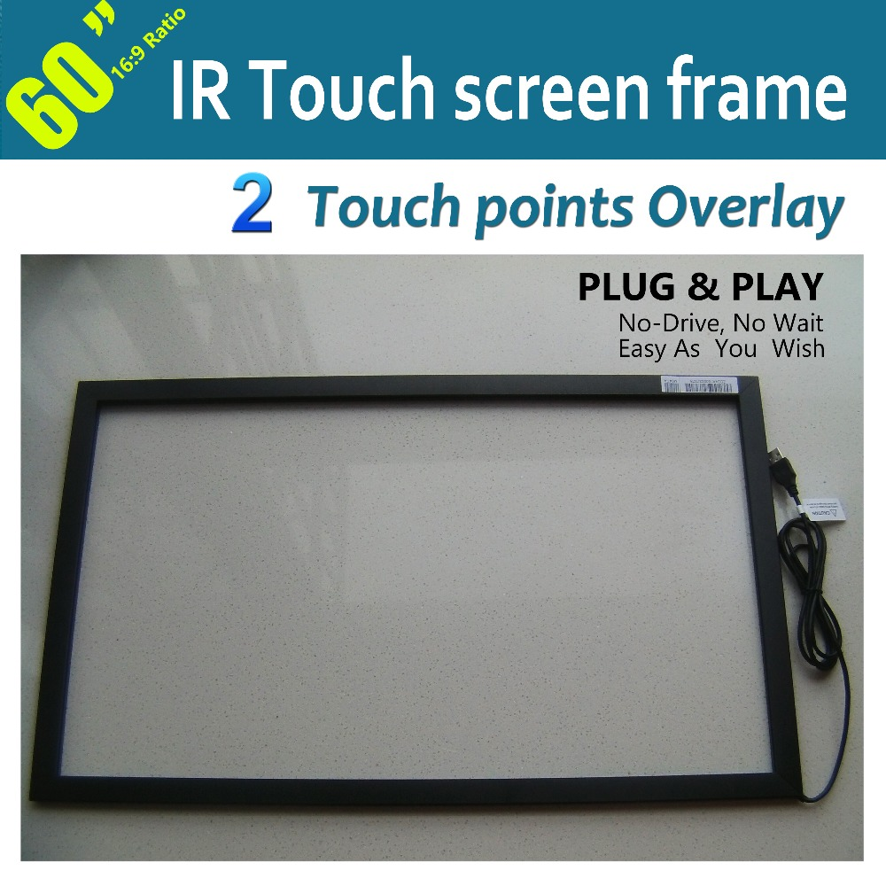 "60"" IR Multi touch Screen Panel Overlay With 2 Touch Points Without Glass Including Multi-touch Software Free Shipping(China (Mainland))"
