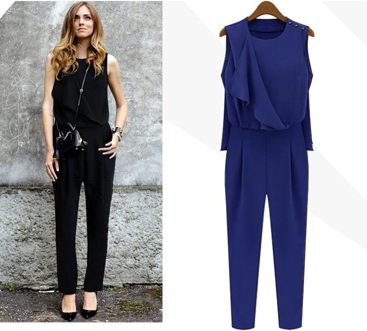 Rompers womens jumpsuit summer style black blue high waist sleeveless loose chiffon full site plus size harem jumpsuit elegant 4(China (Mainland))