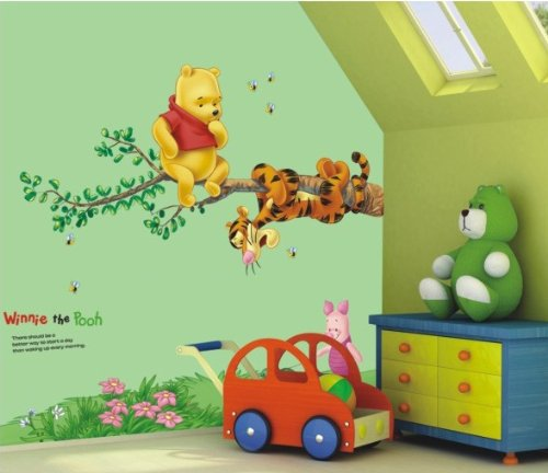 Hot fashion winnie the pooh and friend tiger playing on for Baby pooh and friends wall mural