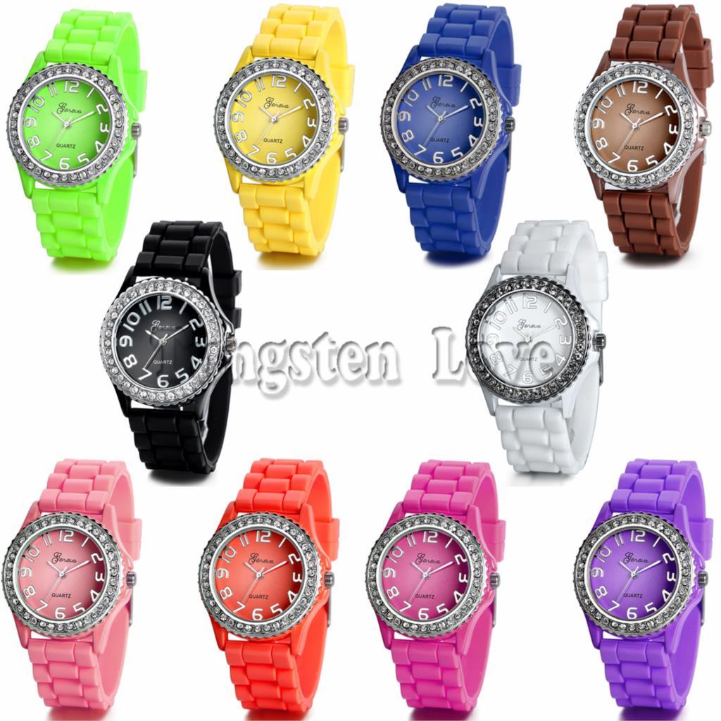 Candy Color Quartz watch Men GENEVA Watch Women Rhinestone Watches 10 colors Fashion Silicone Watch(China (Mainland))