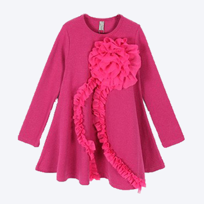 2016 New baby Gril Wear Long-Sleeved Children's Clothes Children Party Dress Stickers Huaqun(China (Mainland))