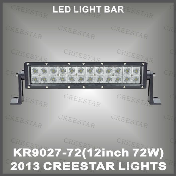 12INCH 72W LED Work Light Bar 12V 24V IP67 Flood Or Spot beam For 4WD 4x4 Off road Light Bars TRUCK BOAT TRAIN BUS KR9027-72(China (Mainland))