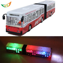 Ultra long double motor bus 39CM electric model of the publicvehicle acoustooptical toy cars large bus for kids Christmas gift(China (Mainland))