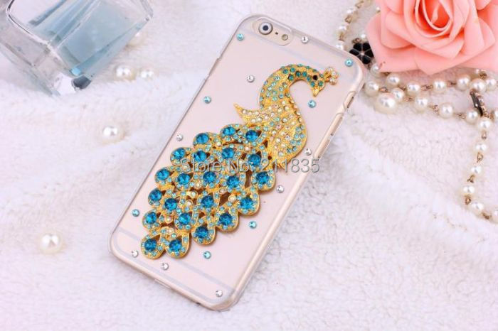Handmade Rhinestone Jewelry Diamond Transparent Ballet Girl Peacock Flower Case For iPhone 6 4.7 Inch Promotions Simple Cover(China (Mainland))