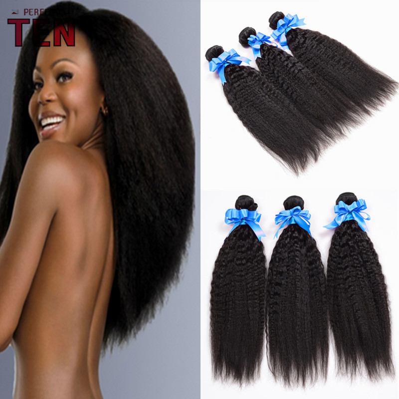 6A Unprocessed Malaysian Virgin Hair Kinky Straight Coarse Yaki Straight Hair Weaves 3PCS/Lot Malaysian Italian Yaki Straight
