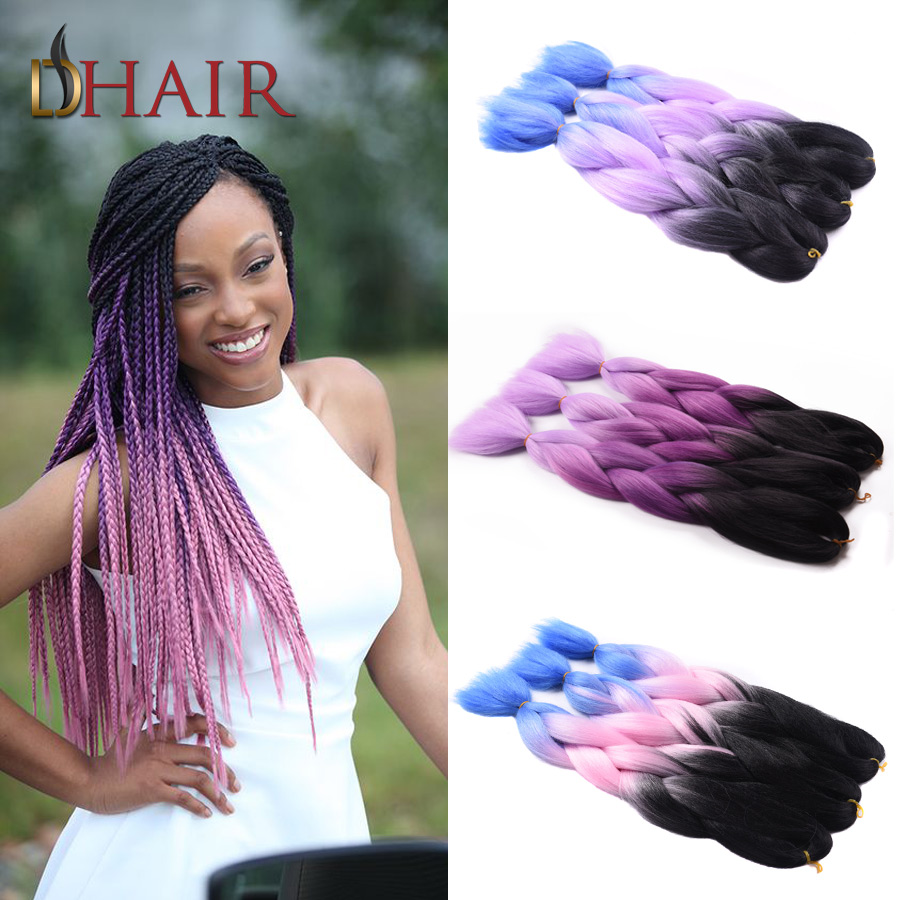 Most Selling Two Tone Ombre Kanekalon Braiding Hair Xpression 1-10Pcs 24Inch Black/Pink Braiding Hair Synthetic Hair For Braid(China (Mainland))
