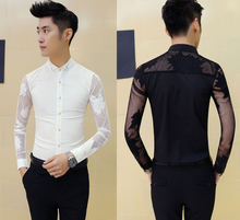 New Men's Sexy Maple Leaf See Through Mesh Patchwork Slim Fit Casual Party Shirt Top Black White